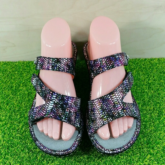 Alegria Shoes - NEW Alegria Loti Funtastic Leather Wedge Sandals